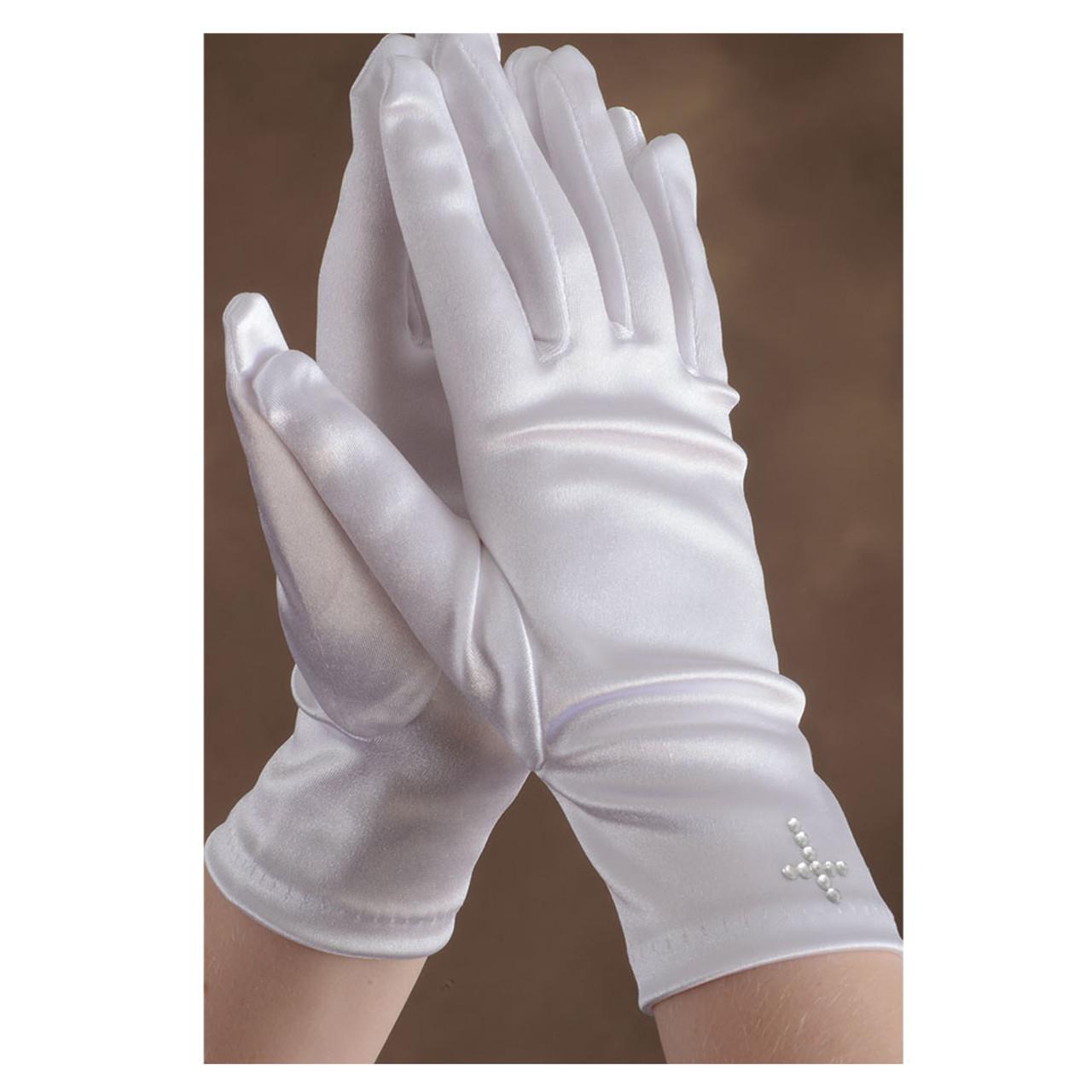 Girls White Communion Gloves Rhinestone Cross