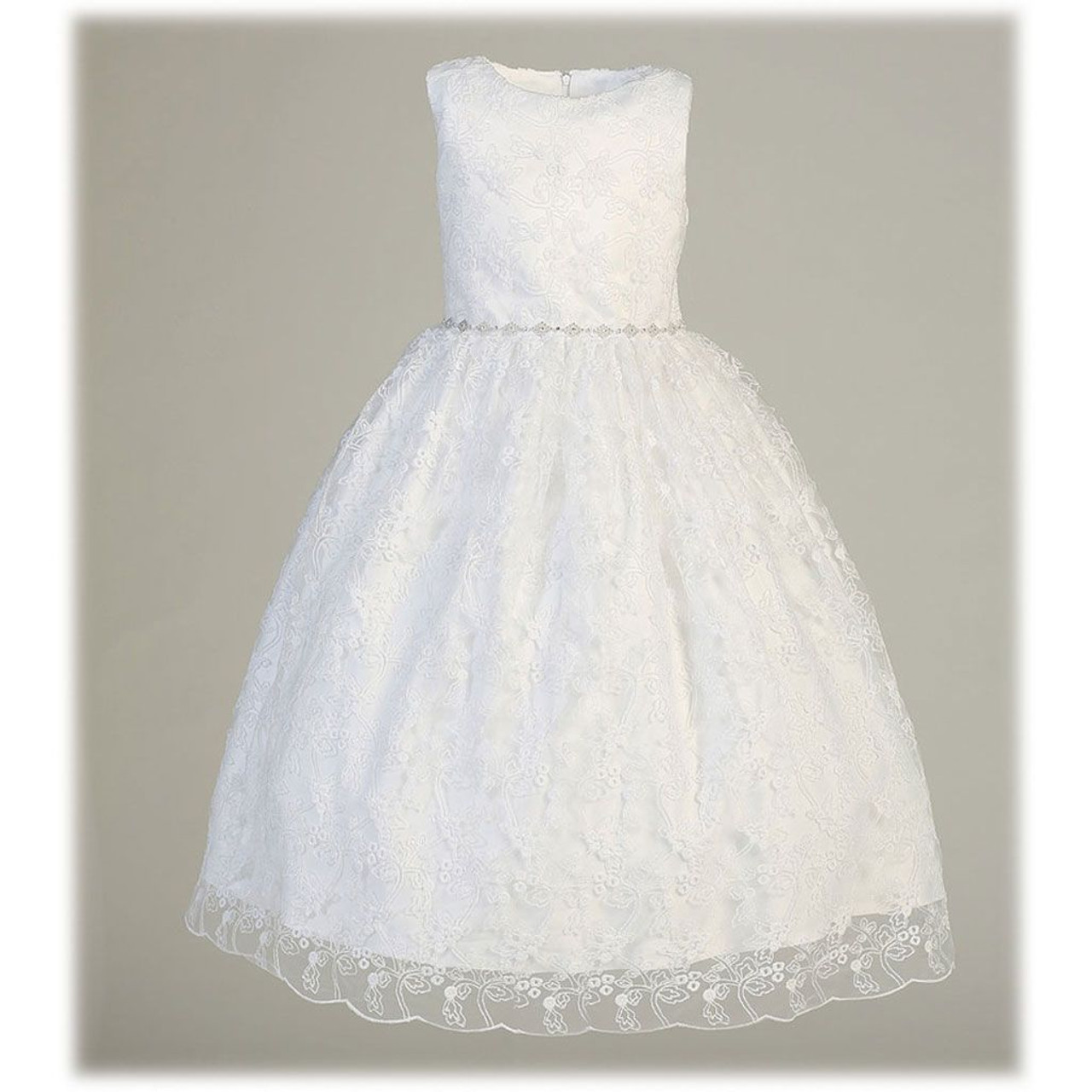 """""""Madelyn"""" First Communion Dress: Sleeveless with Embroidered Lace"""