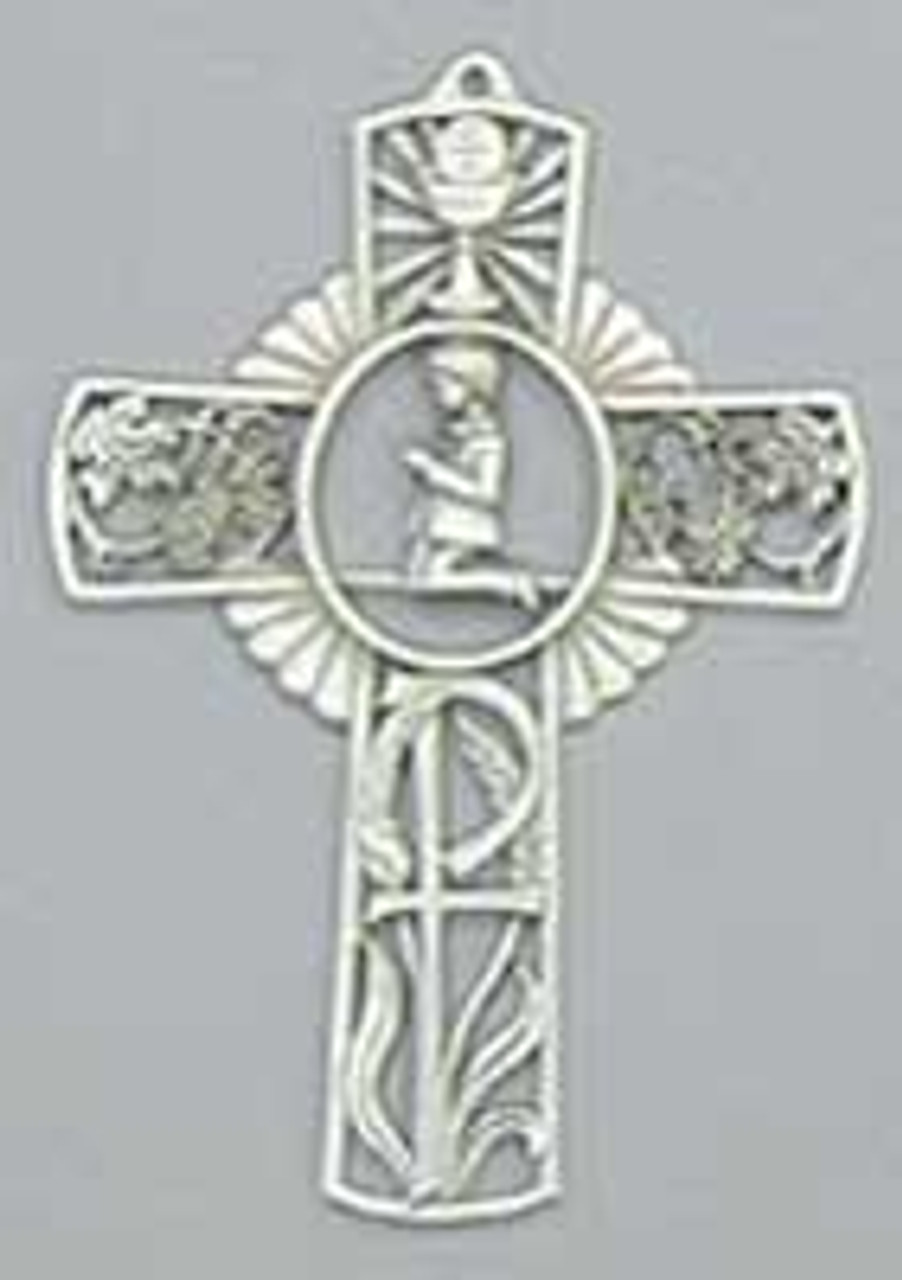 Boys First Communion Pewter Wall Cross