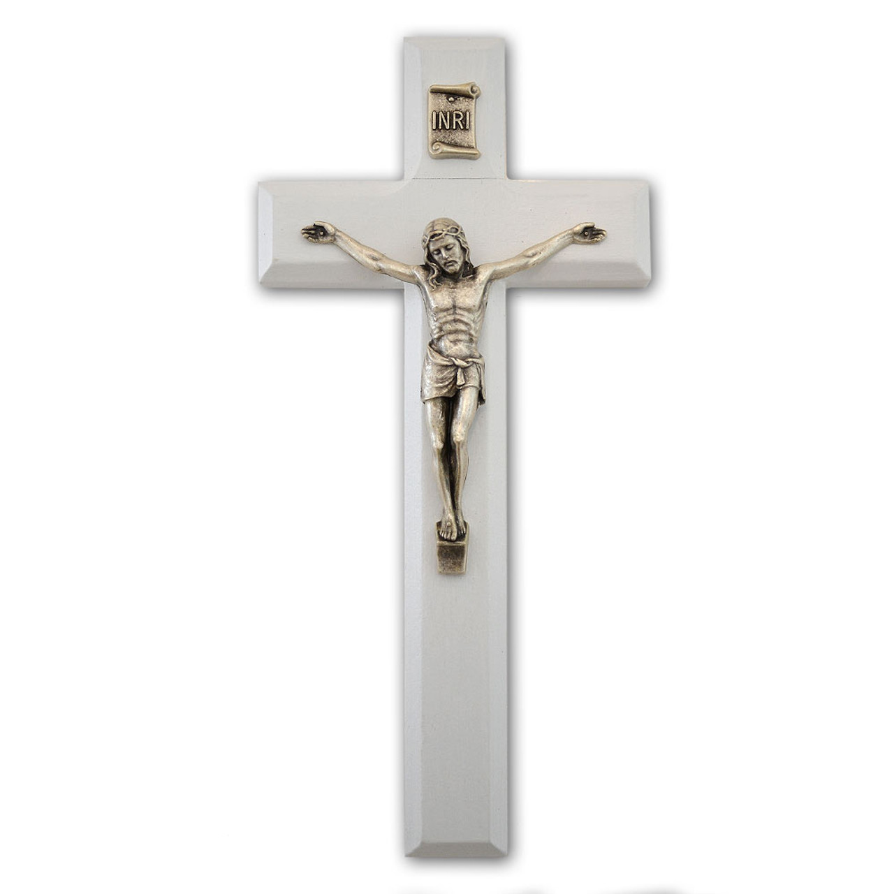 """7"""" White Crucifix With Silver Corpus"""