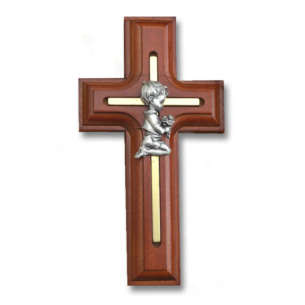 Rosewood Praying Boy Inlay Cross 5IN