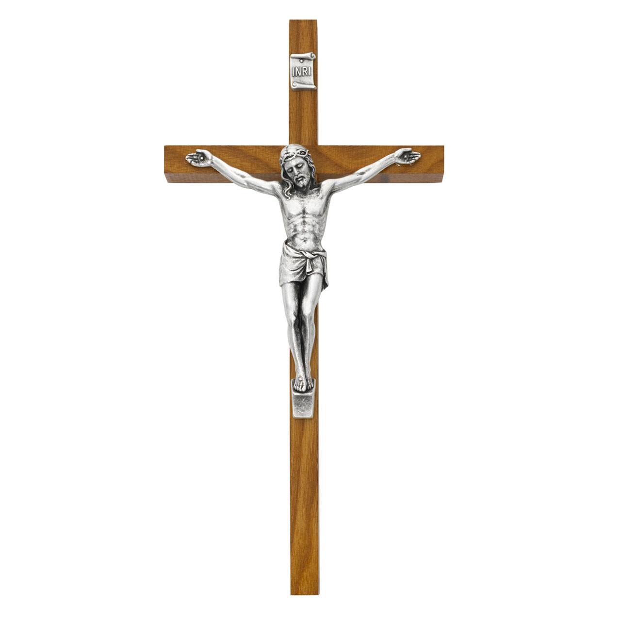 "Pewter Crucifix on a Walnut Cross 10""H"