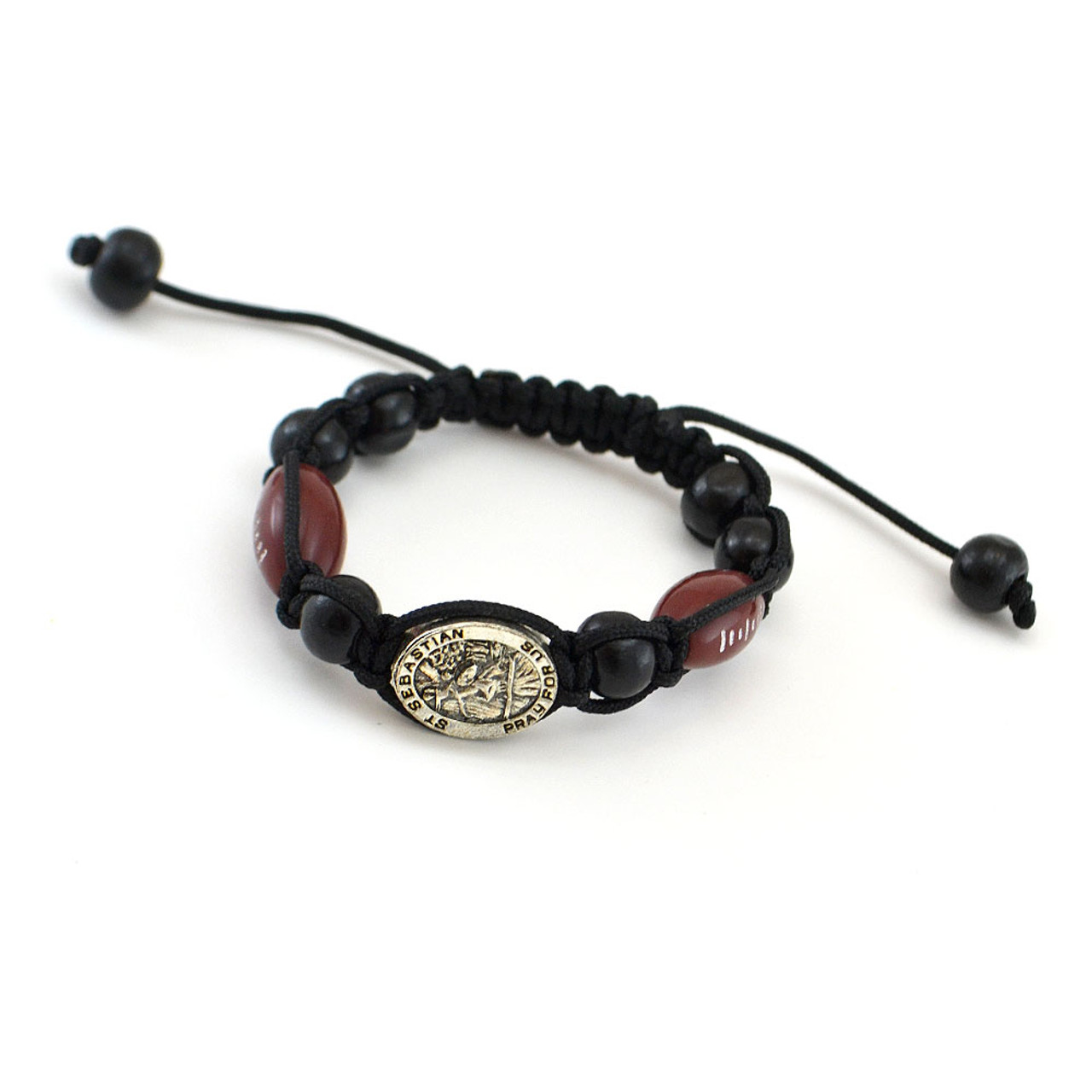 Football Sports Bracelet Black Corded