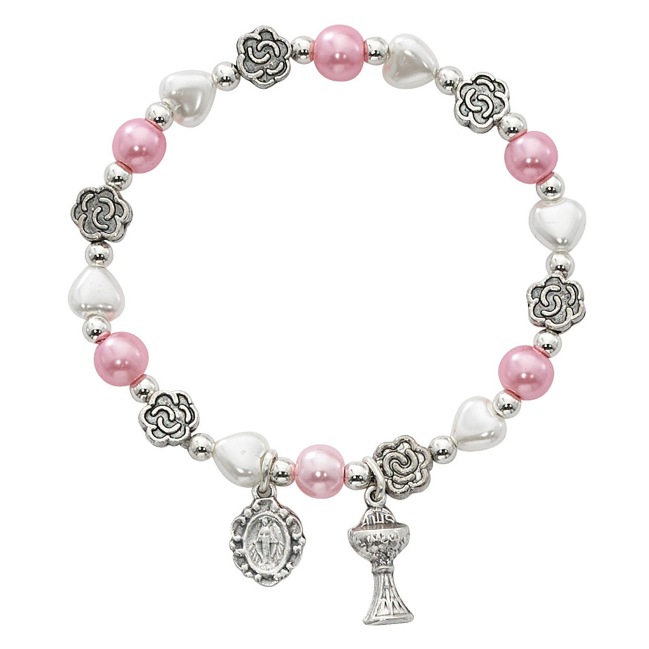 White Heart and Pink Pearl Bracelet