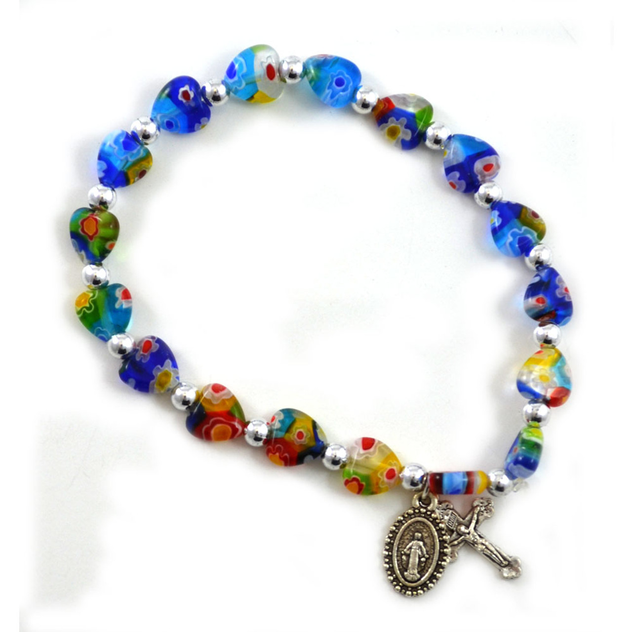 Venetian Style Bracelet with Miraculous Medal and Crucifix Charms