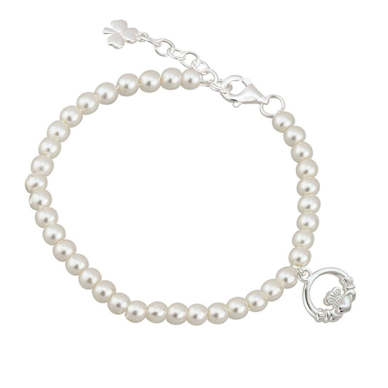 Child's Communion Claddagh Bracelet w/Glass Pearls