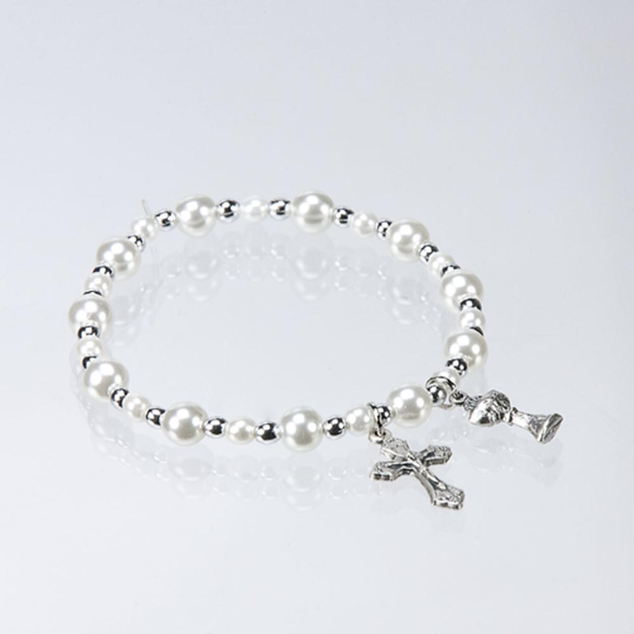 Pearl/Silver Communion Stretch Bracelet
