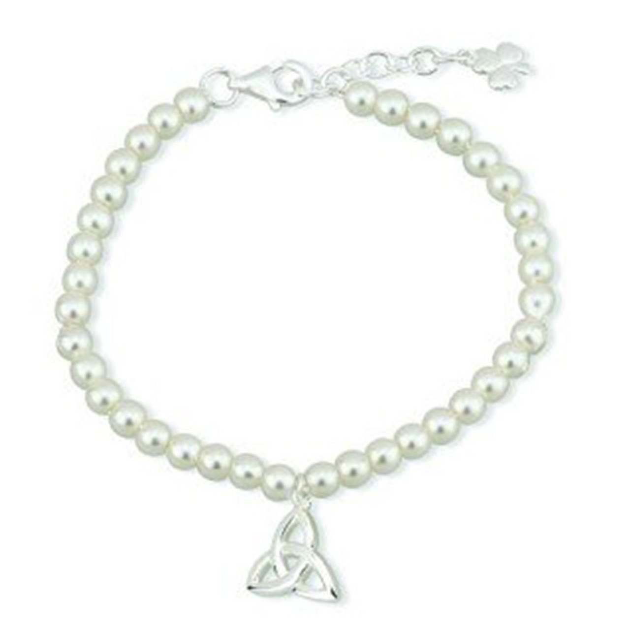Child Silver Plated Trinity Knot Pearl Bracelet