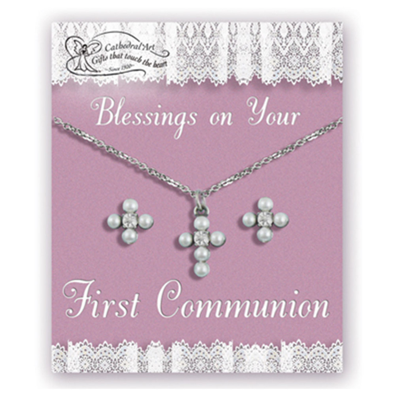 Pearl Cross Jewelry Set Earrings/Necklace