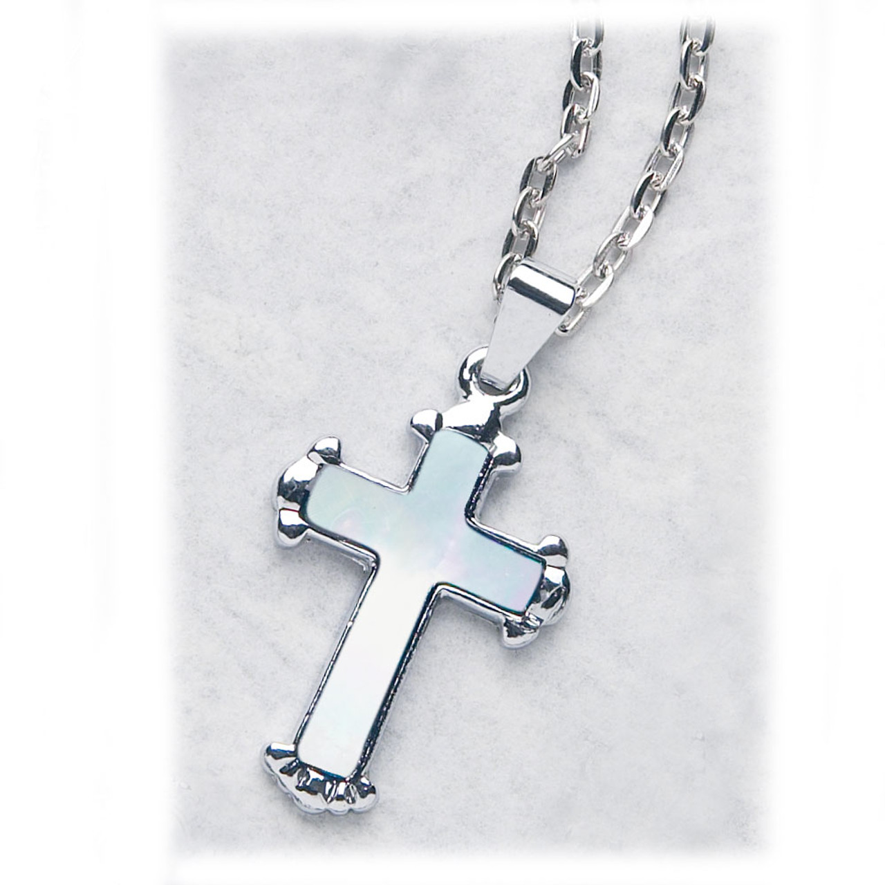 Silver Plated Cross Pendant 18IN Chain