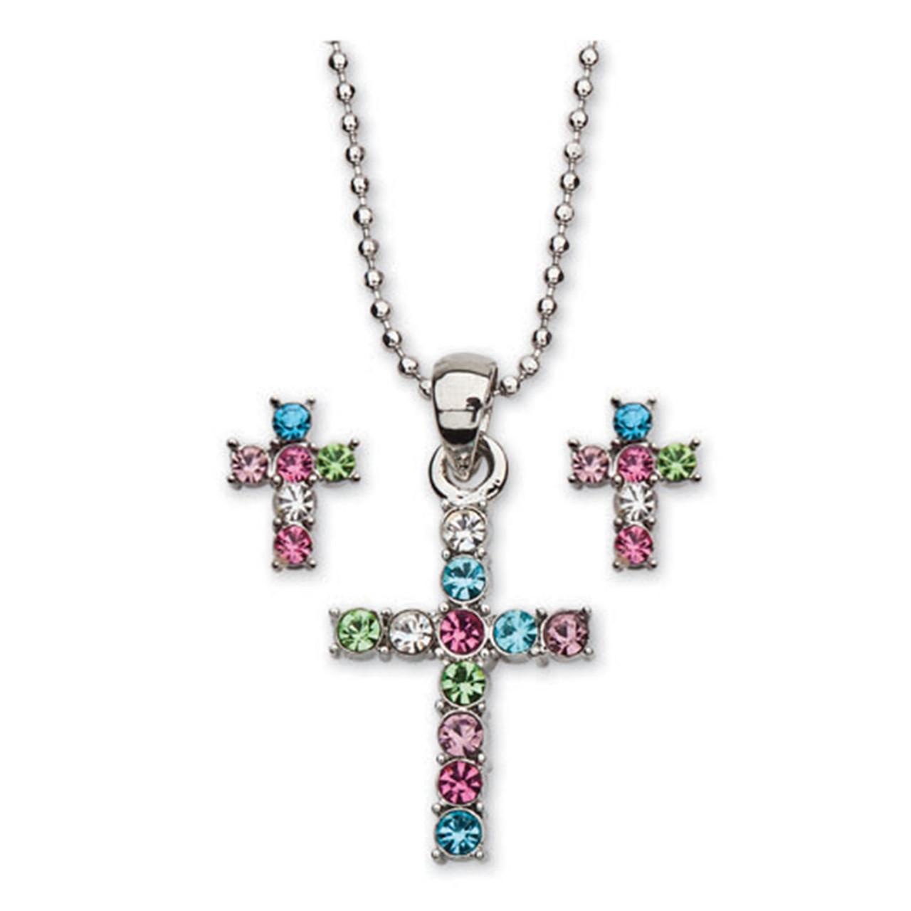 Cross Necklace/Earring Set 16IN Chain