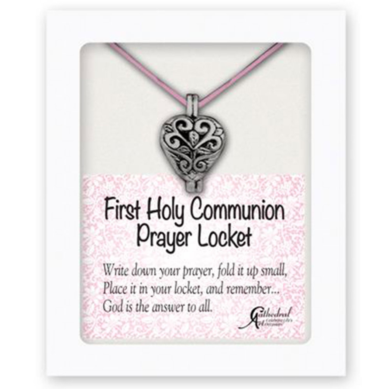 Communion Prayer Locket 13In Pink Satin Cord