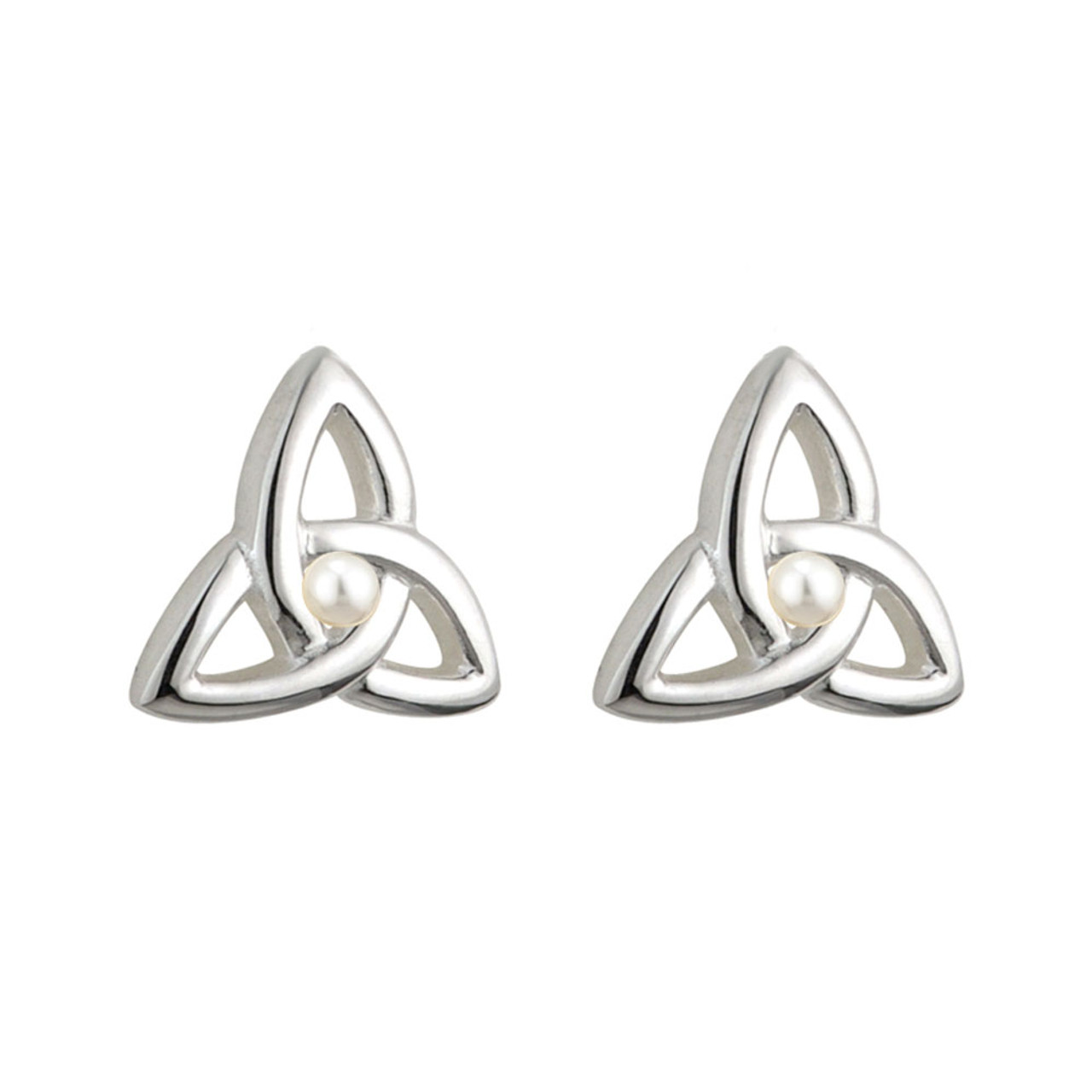 Child's Silver Plated Trinity Knot Earrings with Pearl
