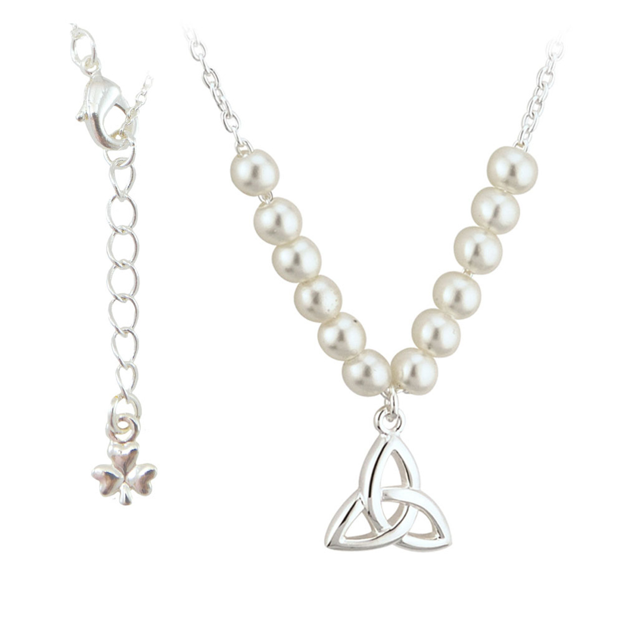Child's Trinity Knot Pearl Necklace Silver Plated