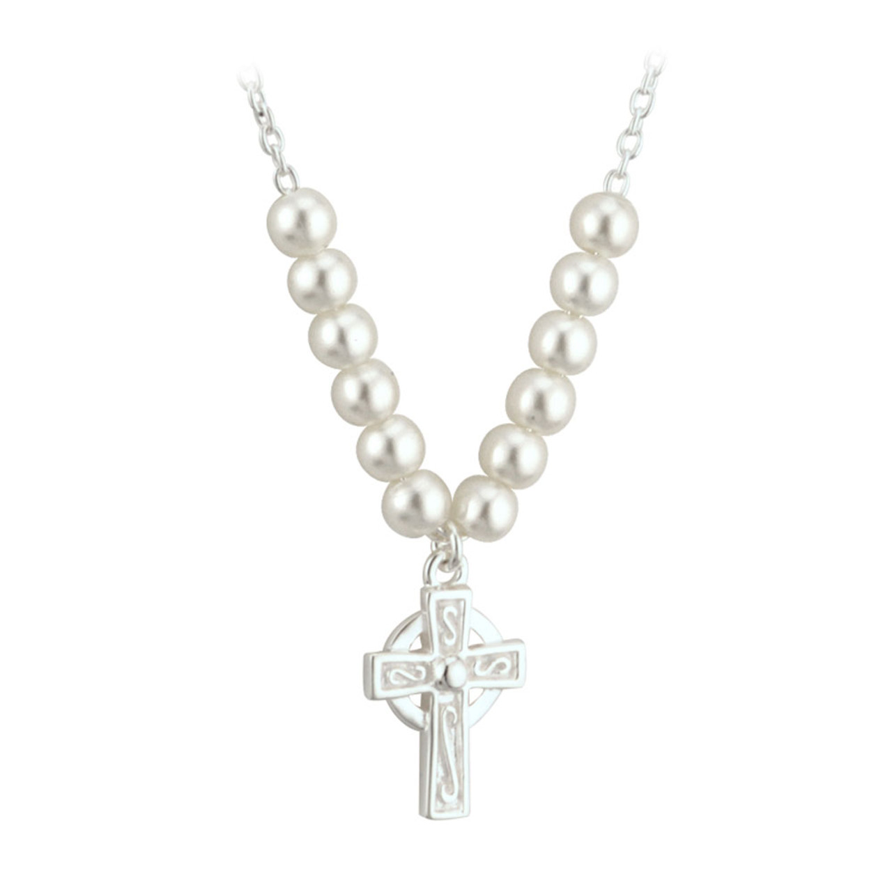 Pearl Celtic Cross Necklace, 15 Inch