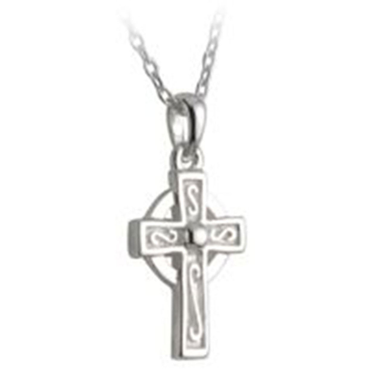 Sterling Silver Celtic Cross Necklace, 16 Inch Chain