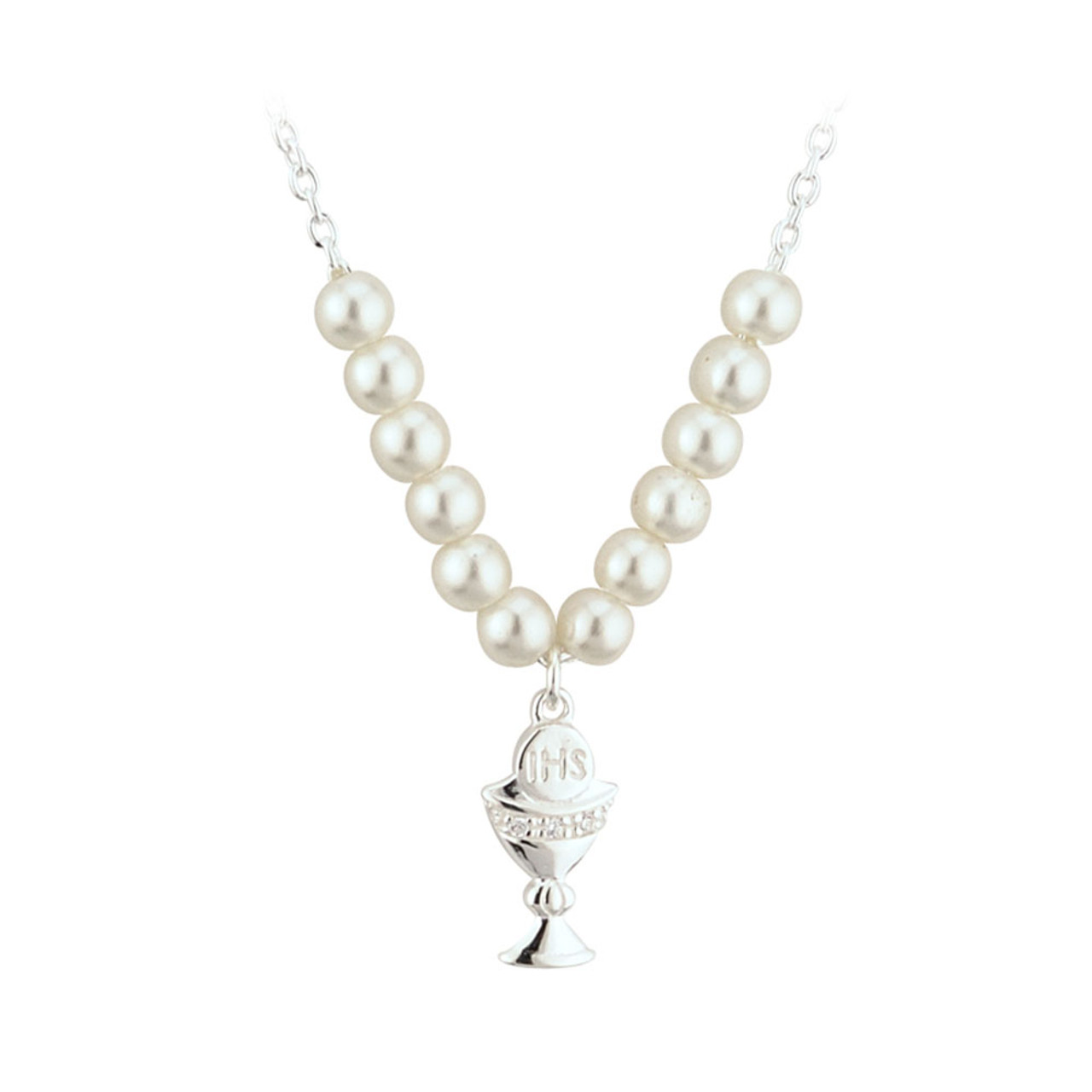 Silver Plated Chalice Pendant and Pearls Necklace
