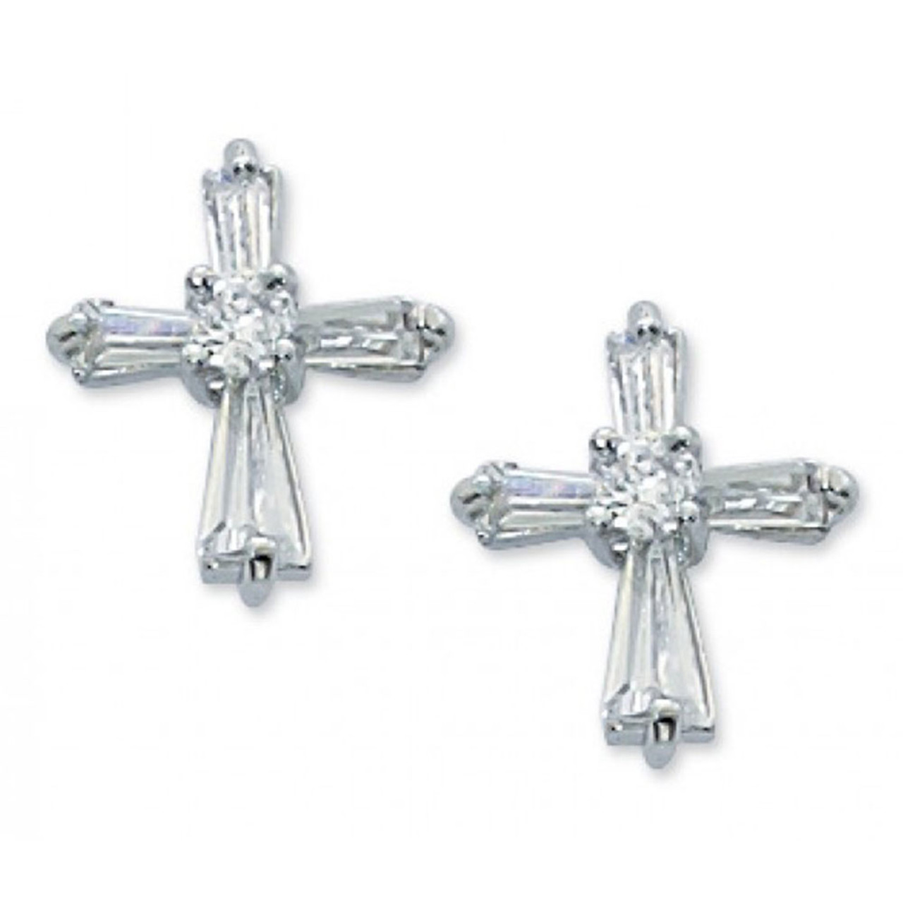 Crystal Cubic Zirconia Earrings 1/2IN