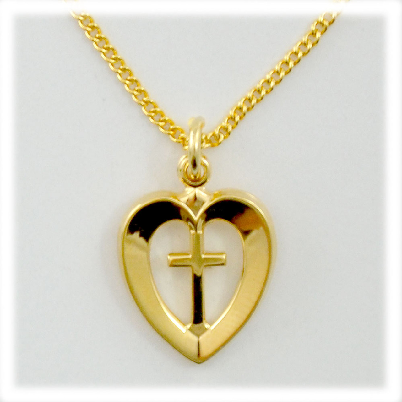 18kt Gold-Plated Cross in Heart Necklace