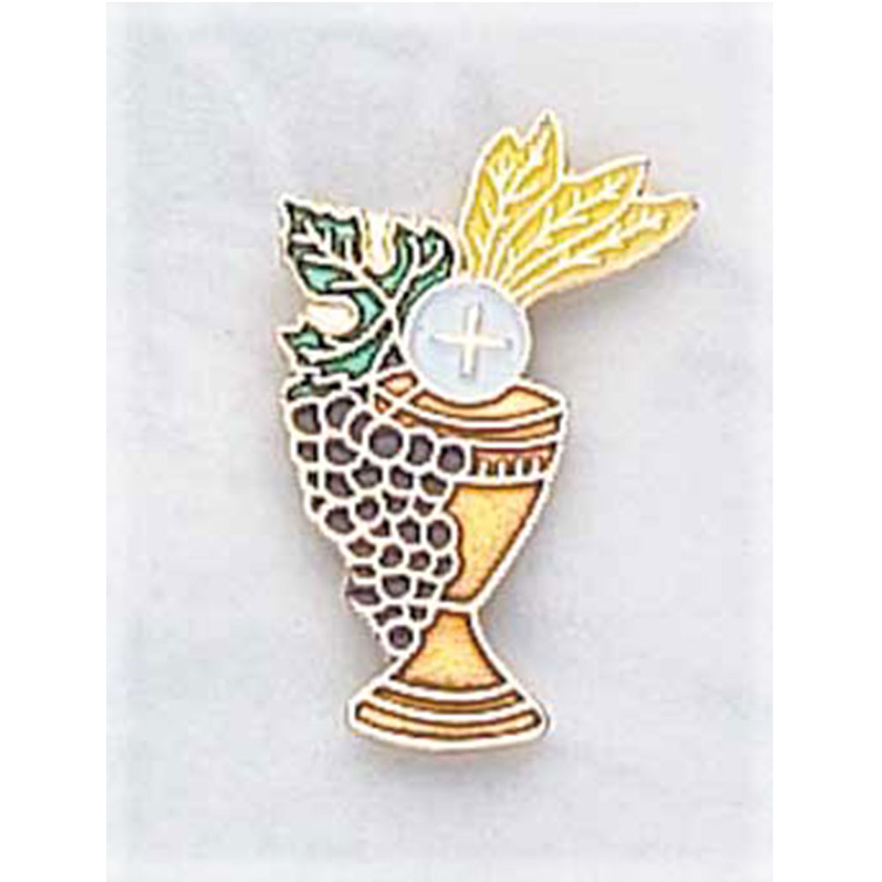 First Communion Lapel Pin with Enameled Chalice and Host