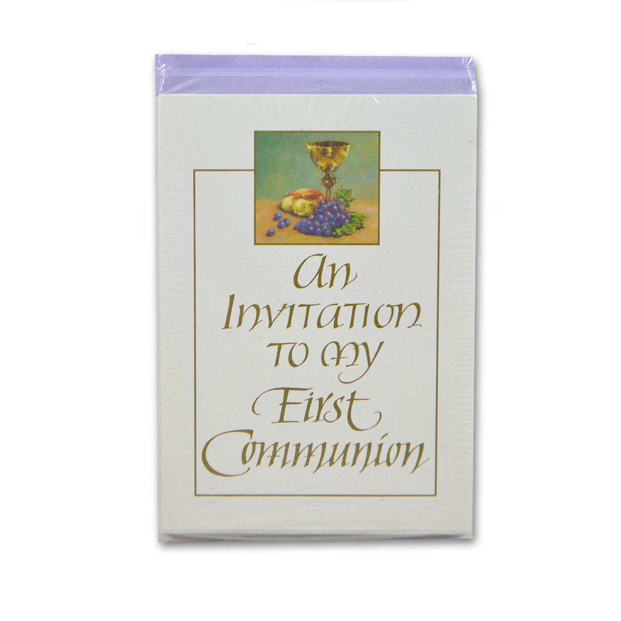 Communion Invitations Chalice & Grapes 8/Pkg