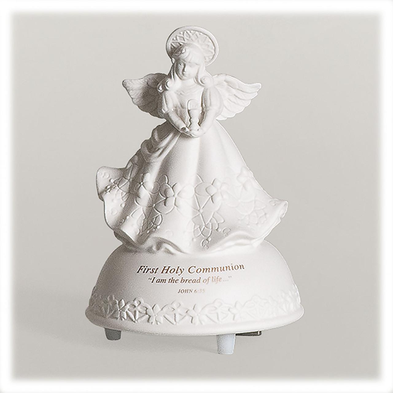 Music Box First Communion Musical Angel Figurine
