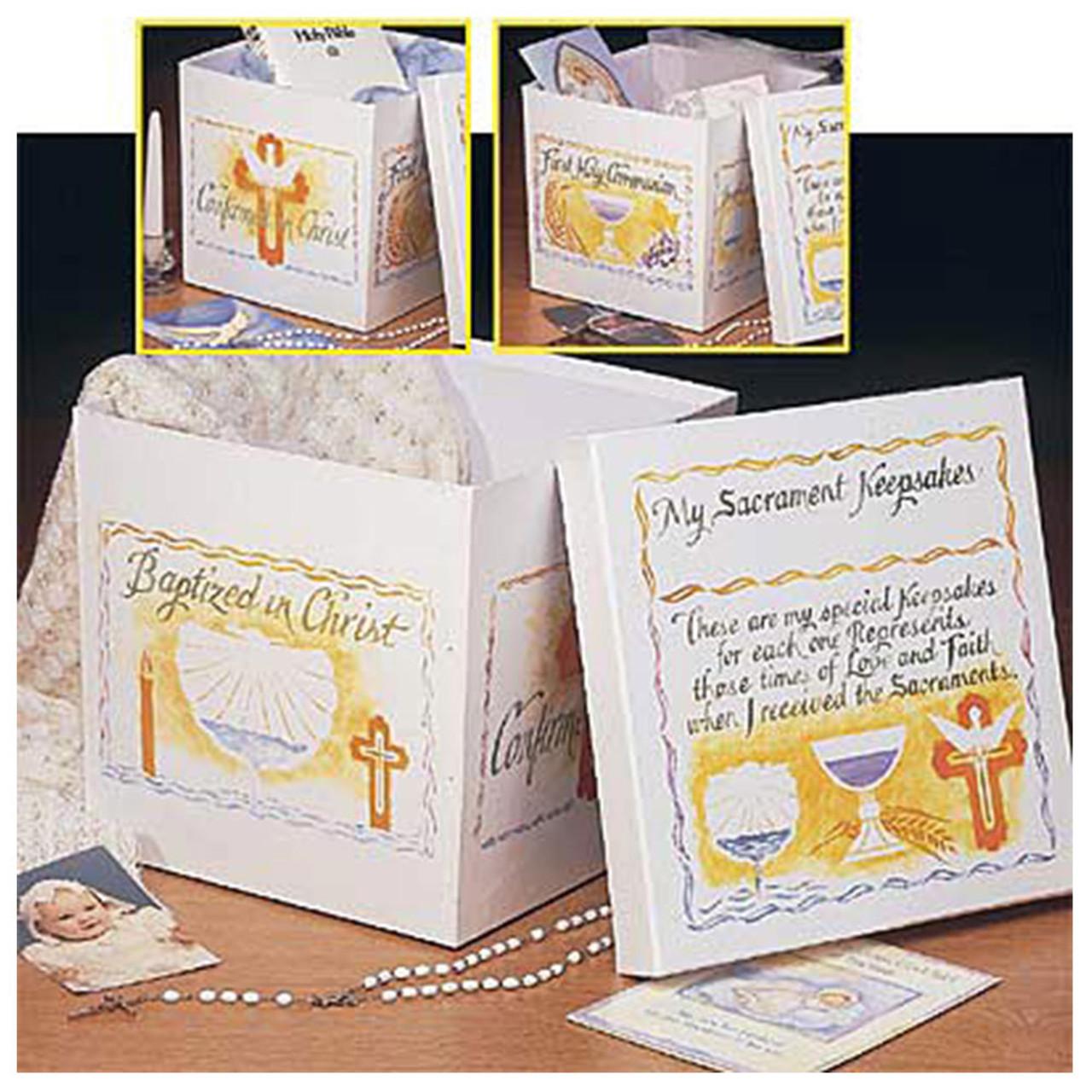 First Communion Confirmation and Baptism Sacramental Keepsake Box