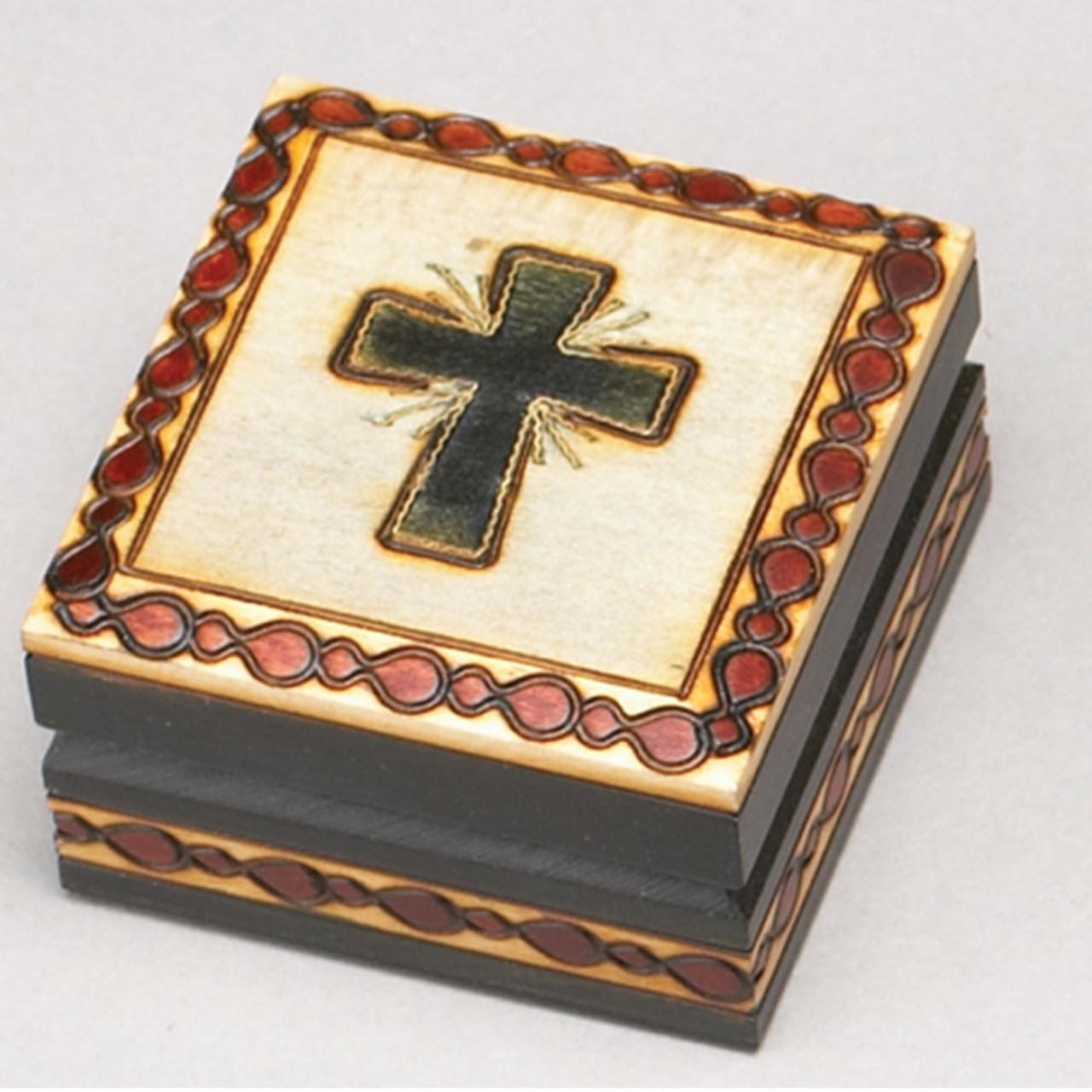 Irish Cross Design Wooden Keepsake Box