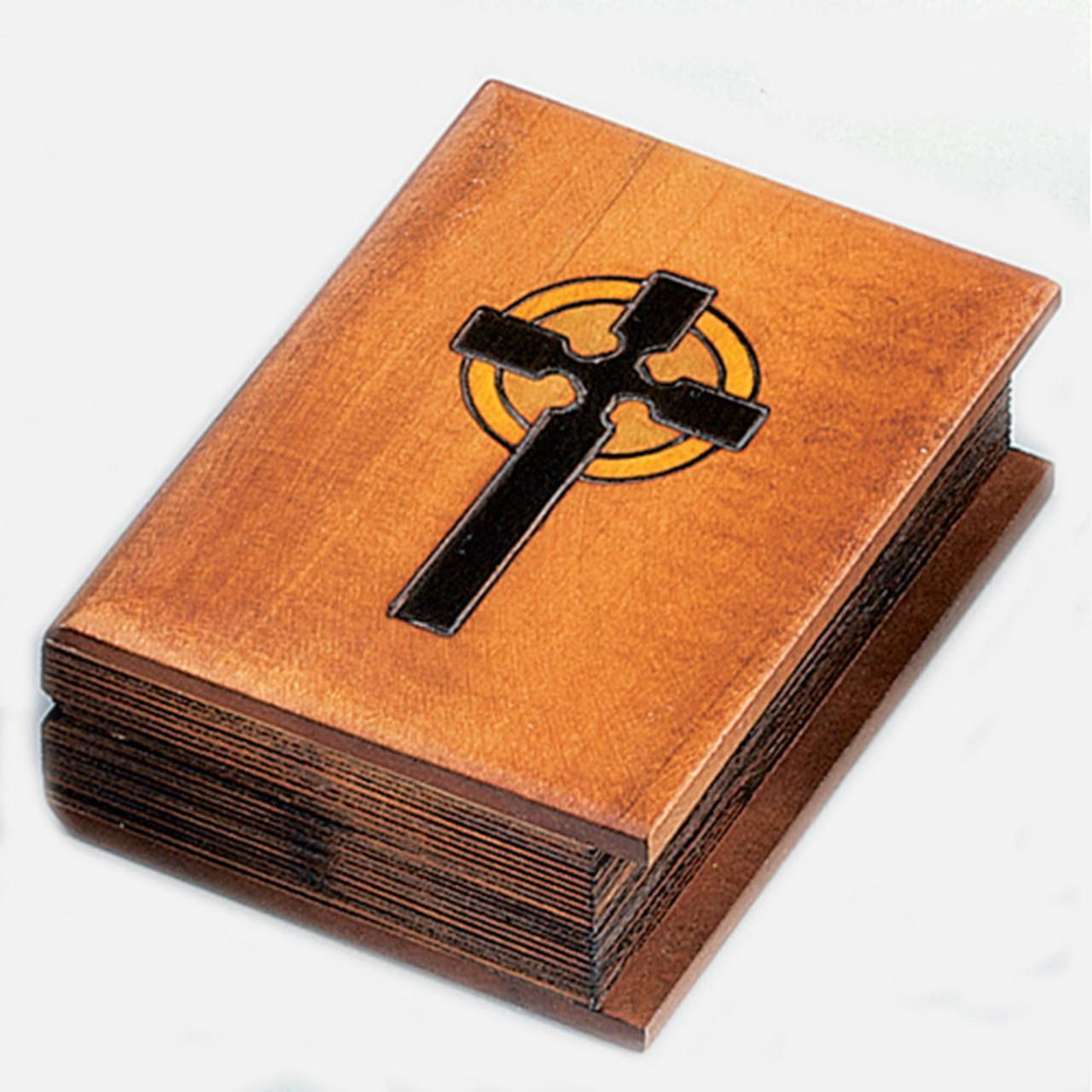Bible Shaped Wooden Keepsake Box