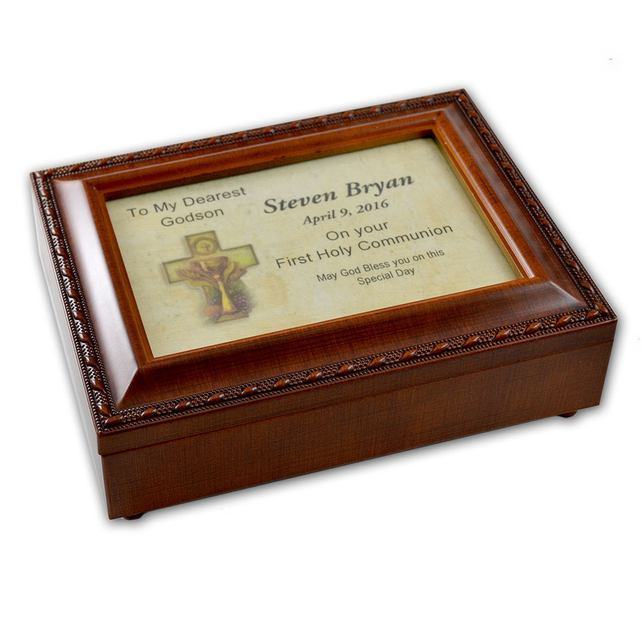 Godson First Communion Music Box Personalized