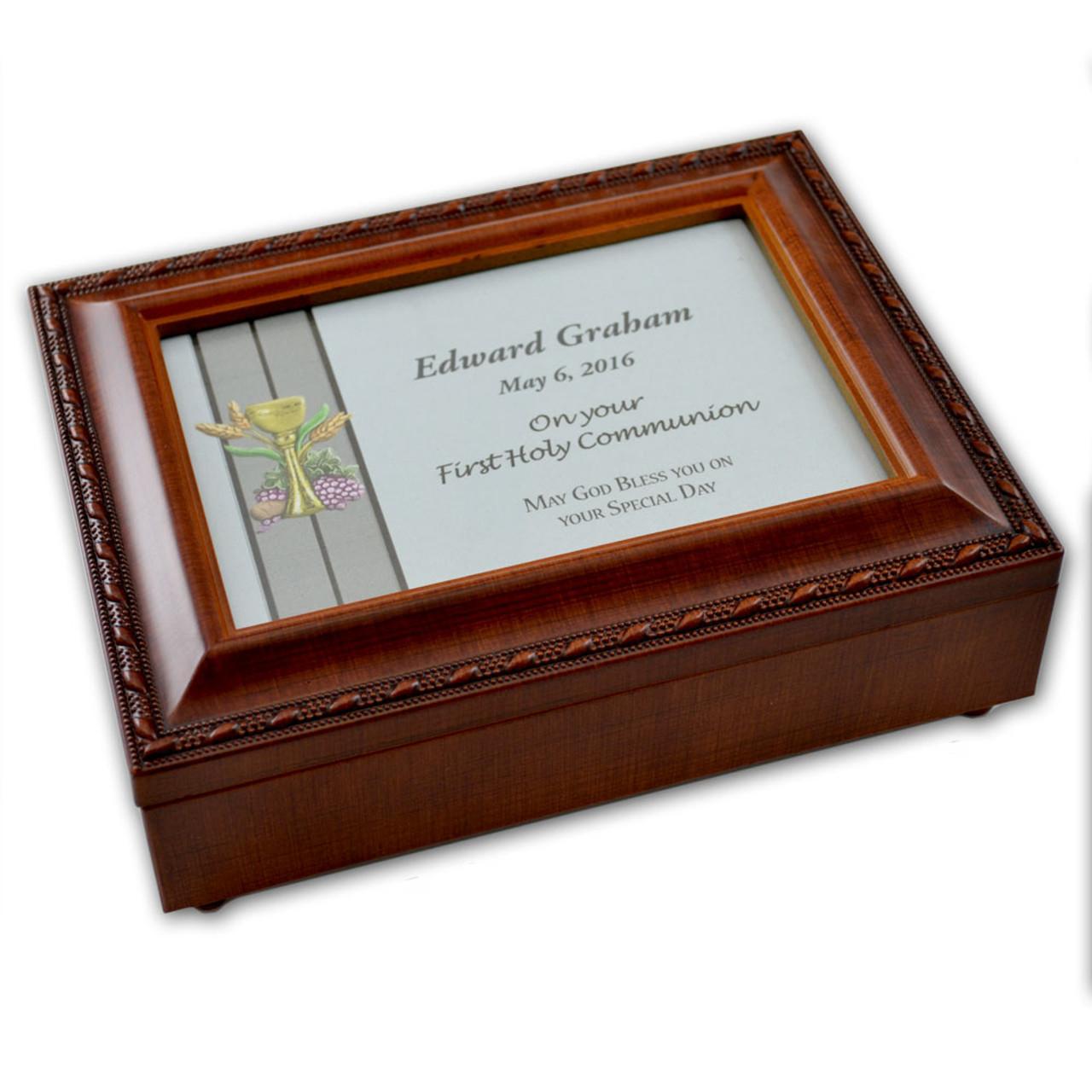 Boy Personalized First Communion Music Box