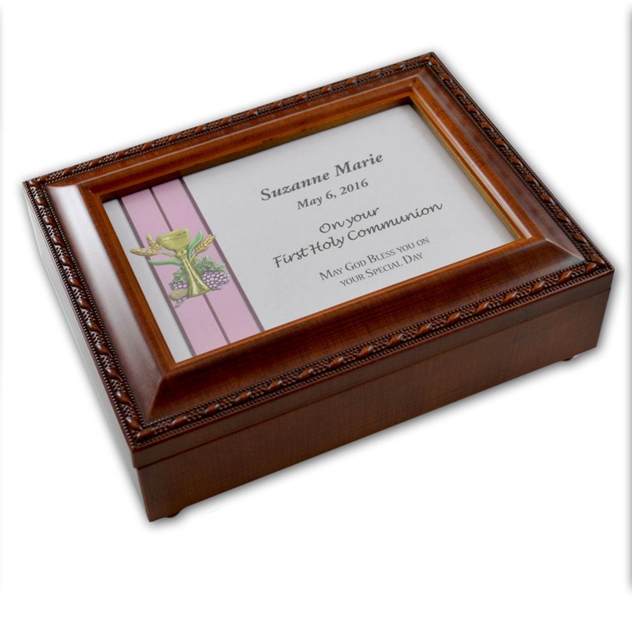 Girls Personalized First Communion Music Box