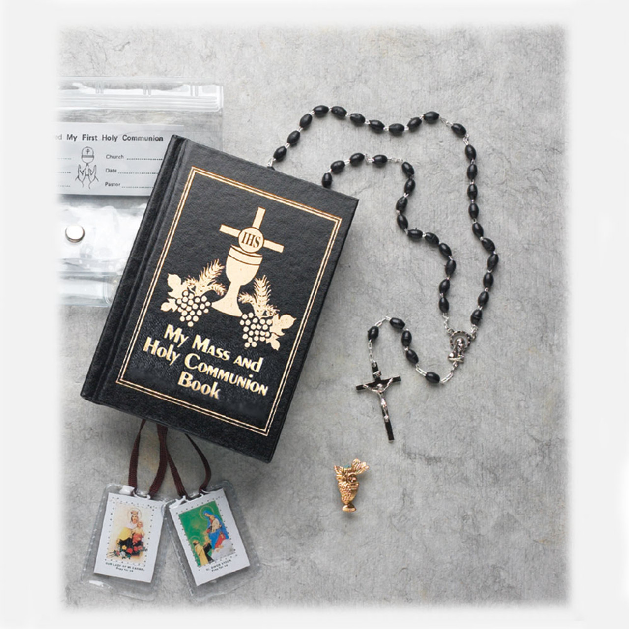 Boys First Communion Missal Set with Case Scapular and Lapel Pin
