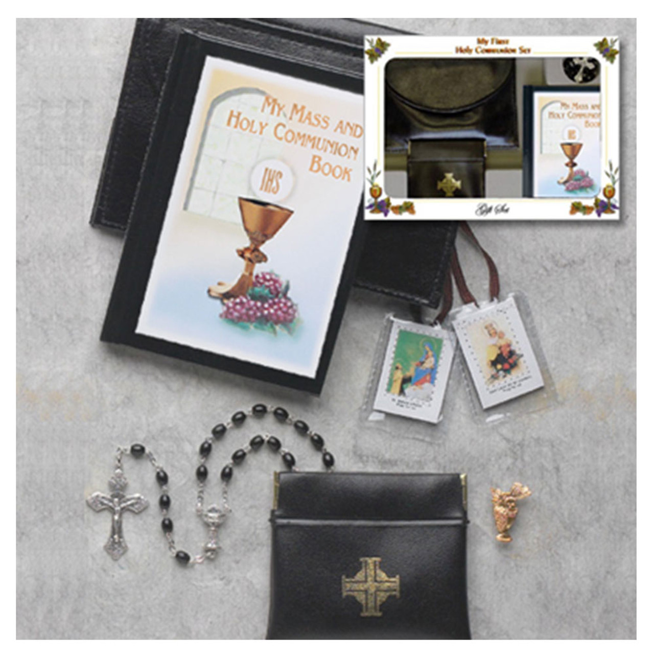 Leatherette Boys First Communion Missal Set Black