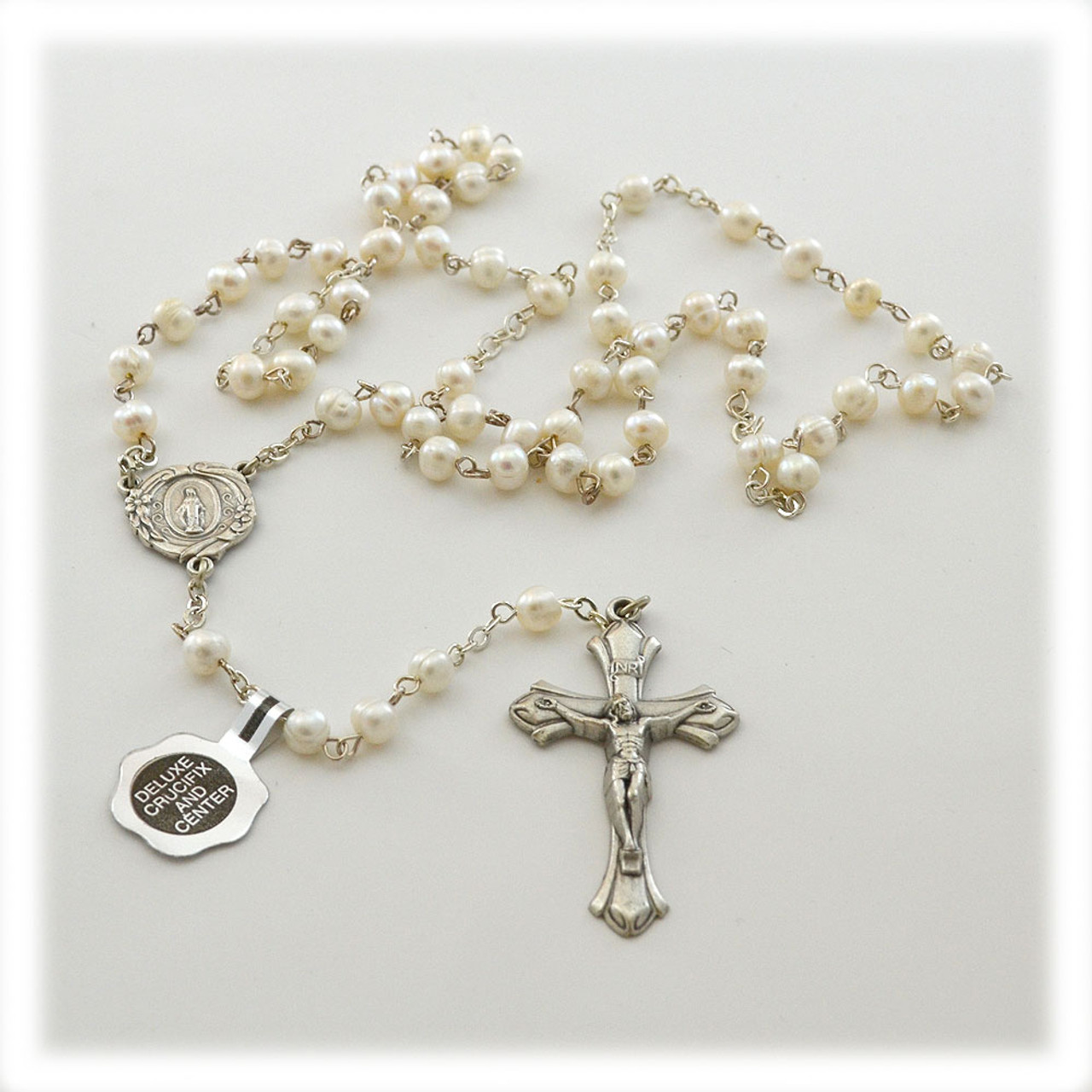 White Freshwater Pearl Rosary