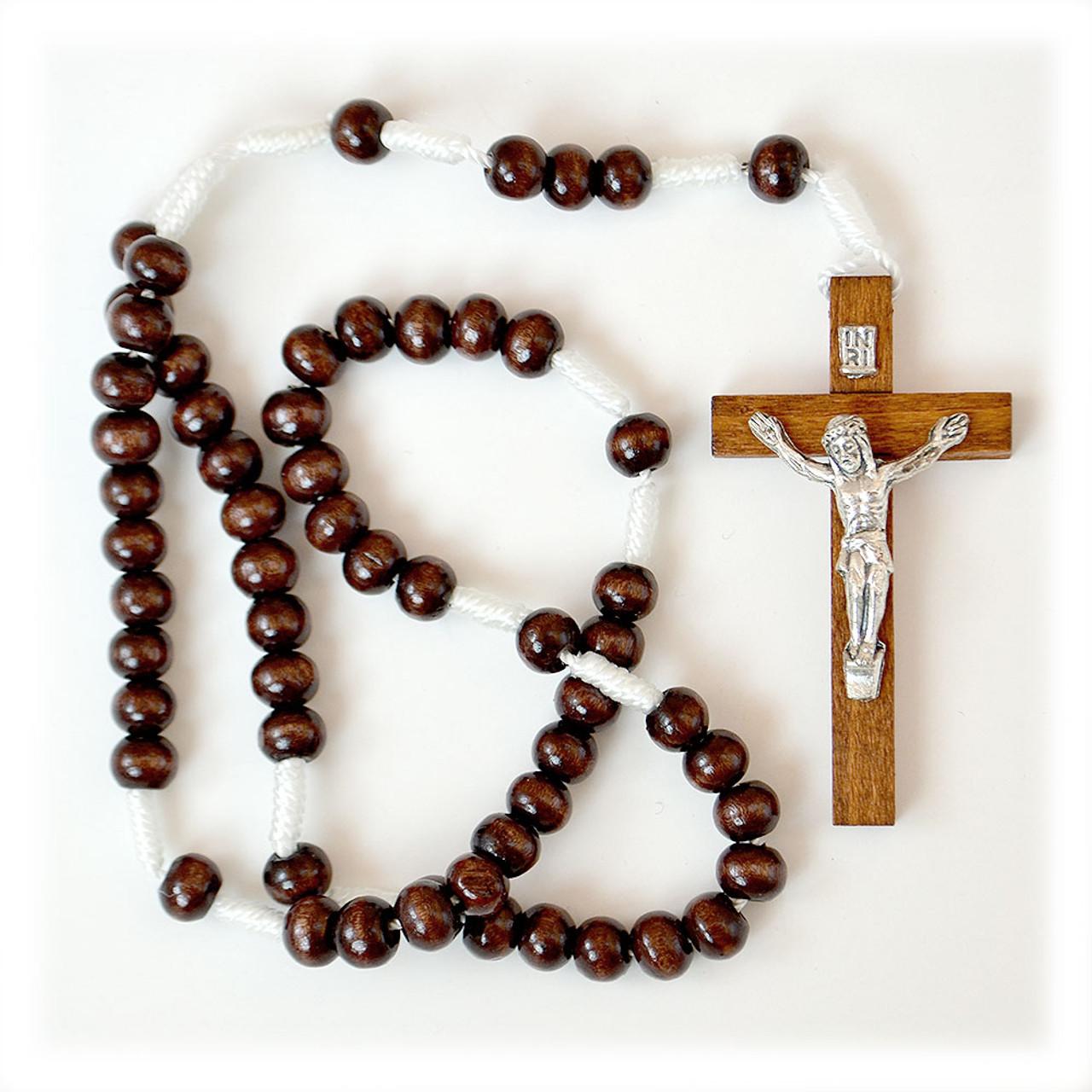 Brown Wood Cord Rosary