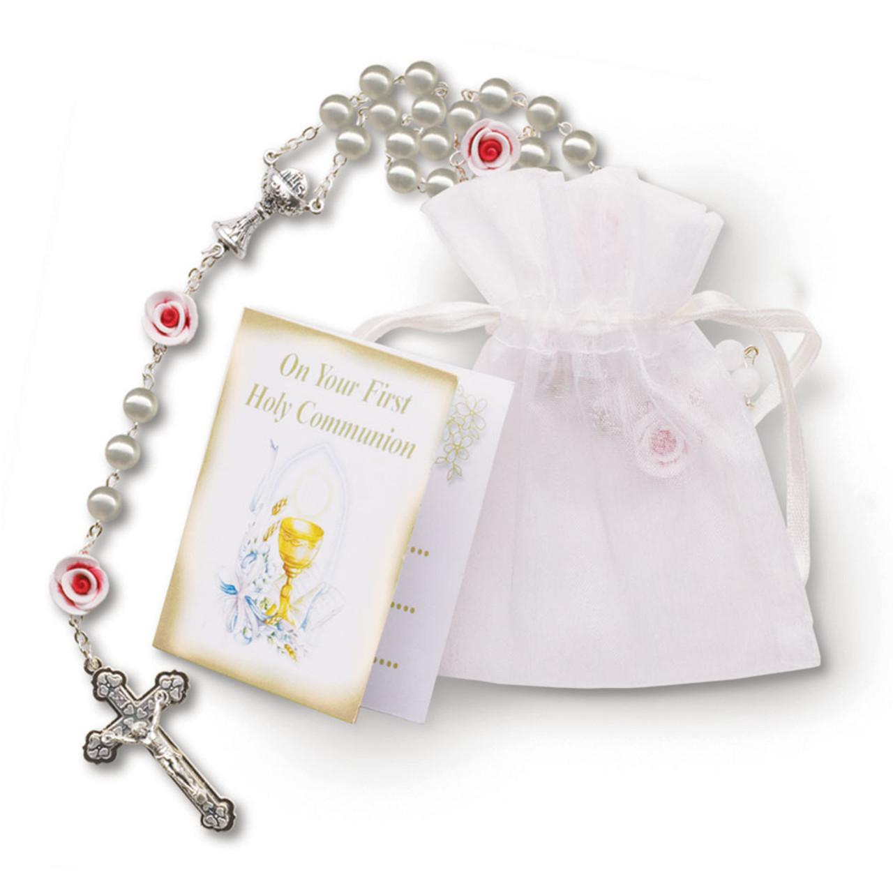 Pearl & Rose Rosary W/Organza Bag Prayer Card