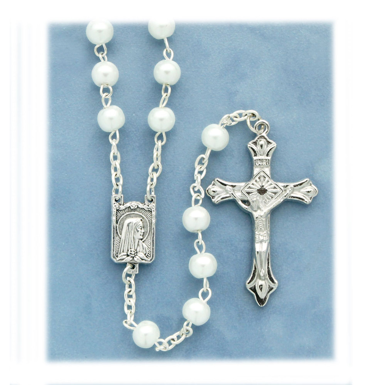 White Pearl Rosary With Miraculous Centerpiece