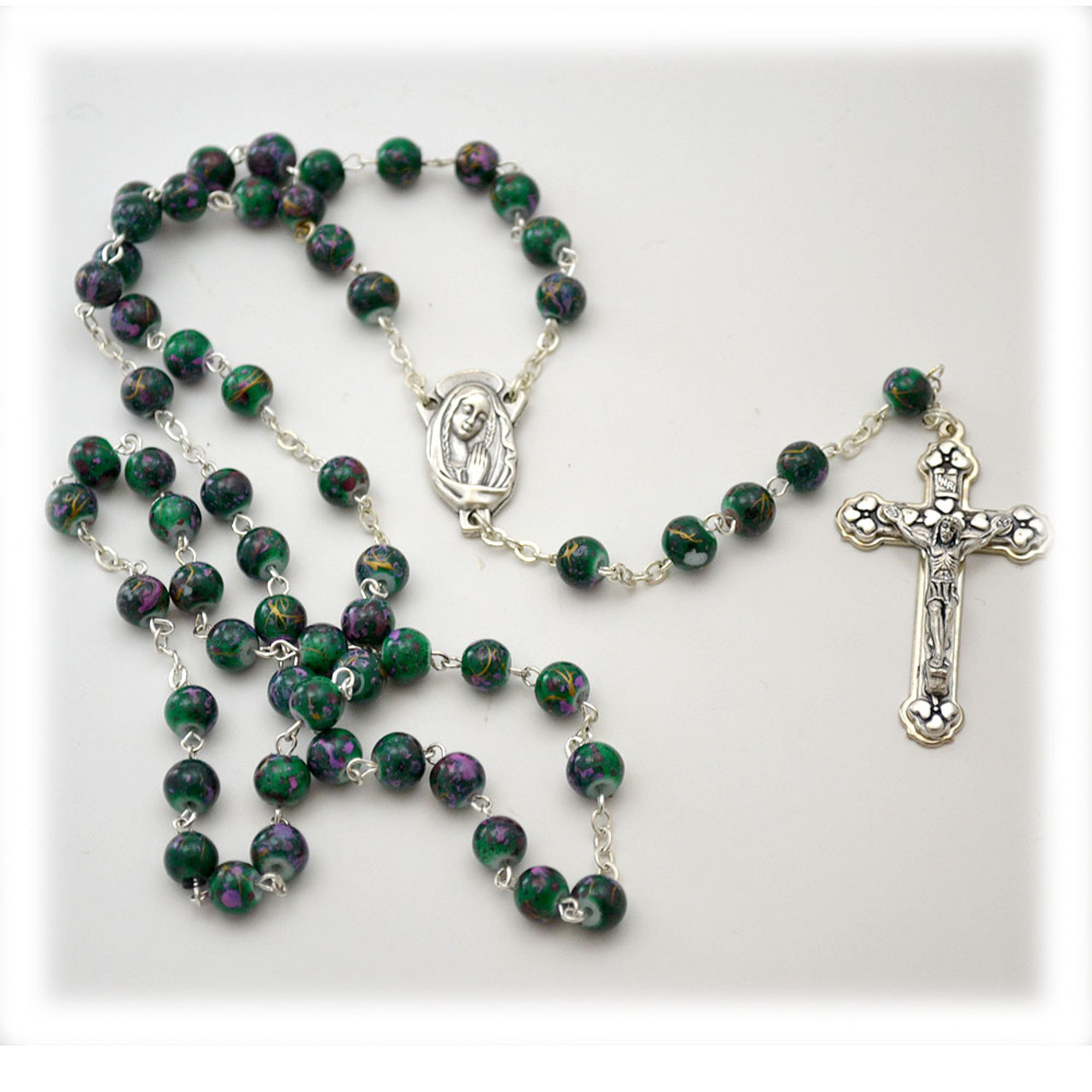 6mm Multi-Colored Mosaic Glass Bead Rosary