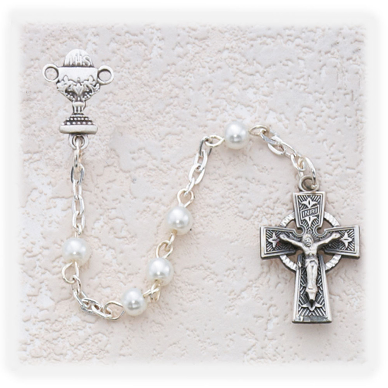 First Communion Rosary with Chalice and Celtic Cross