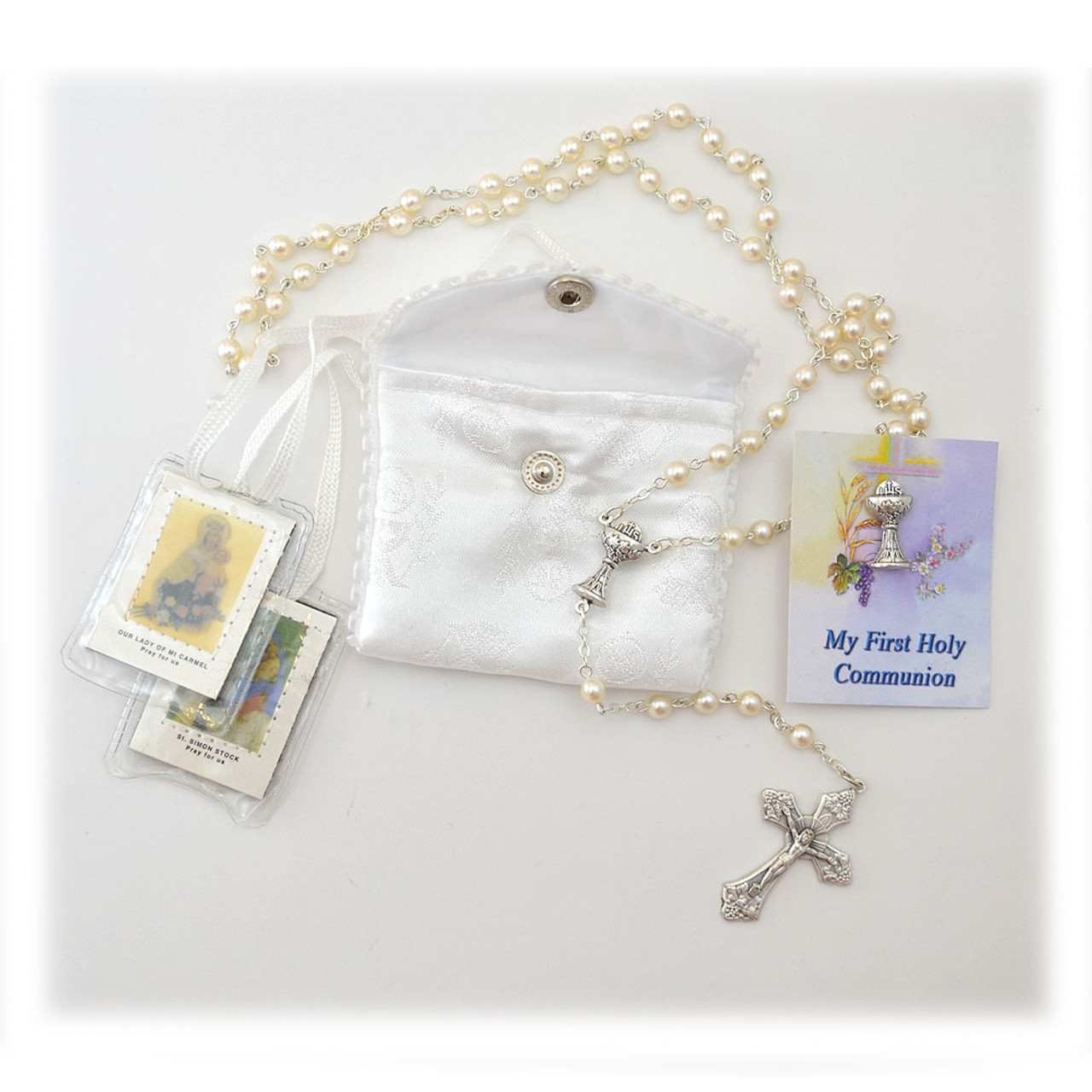 White First Communion Set Rosary Scapular Pin Case