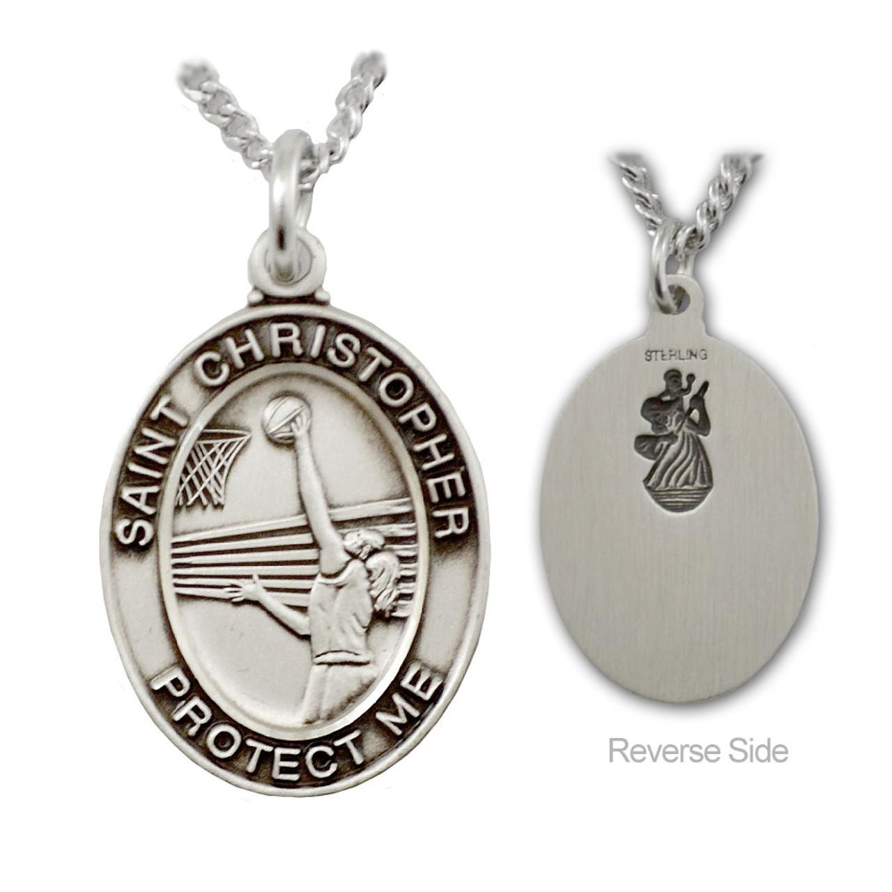 """Basketball St. Christopher Medal Female 18"""" Chain"""