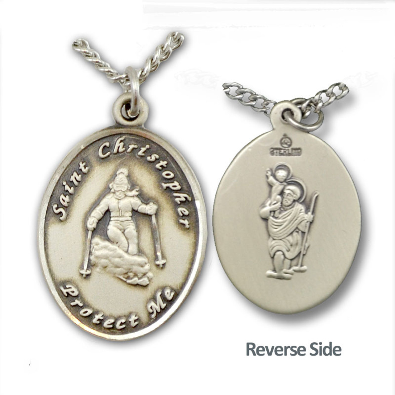 """Skiing St. Christopher Necklace Female w/18"""" Chain"""