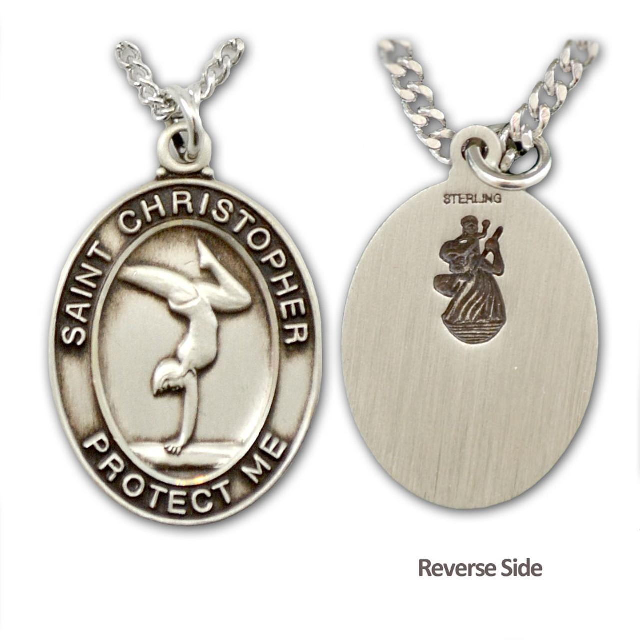 "Gymnastics St. Christopher Medal Female 18"" Chain"