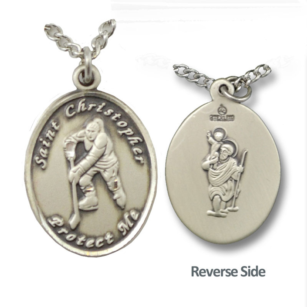 """Hockey St. Christopher Necklace Female 18"""" Chain"""