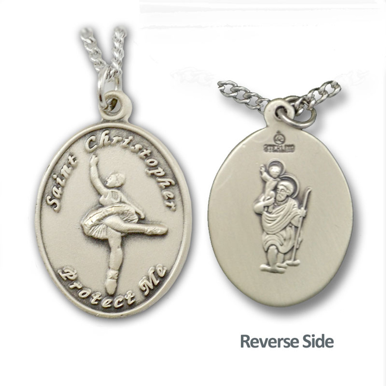 "Dance/Ballet St. Christopher Necklace Female 18"" Chain"