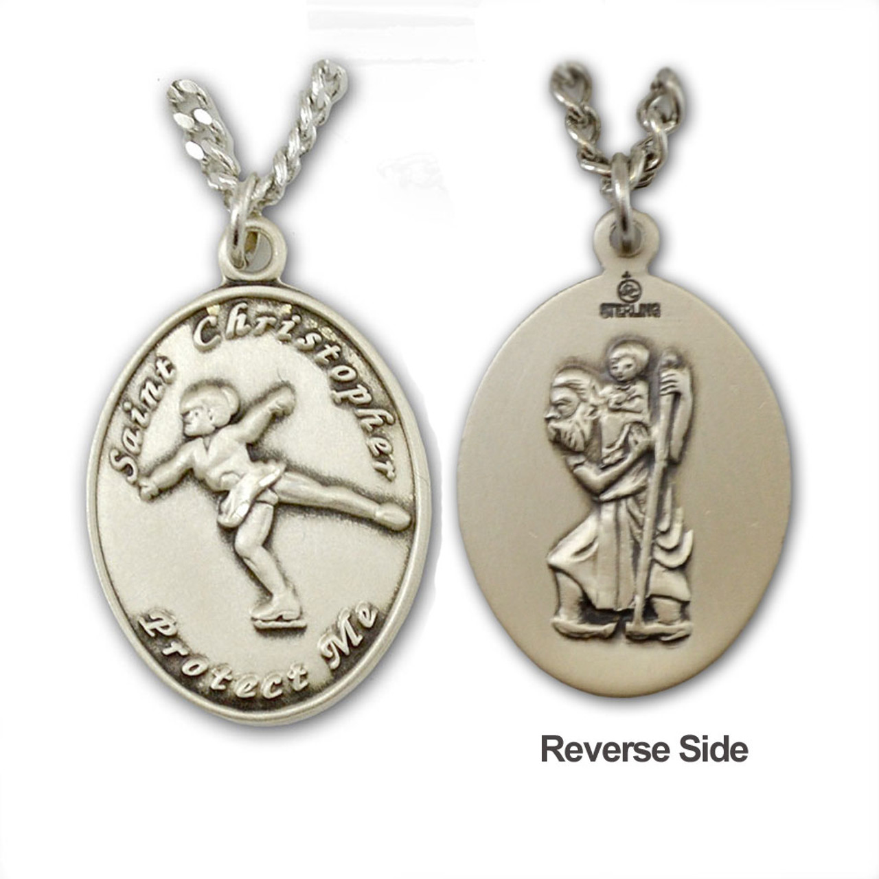 """Figure Skating St. Christopher Necklace on 18"""" Chain"""