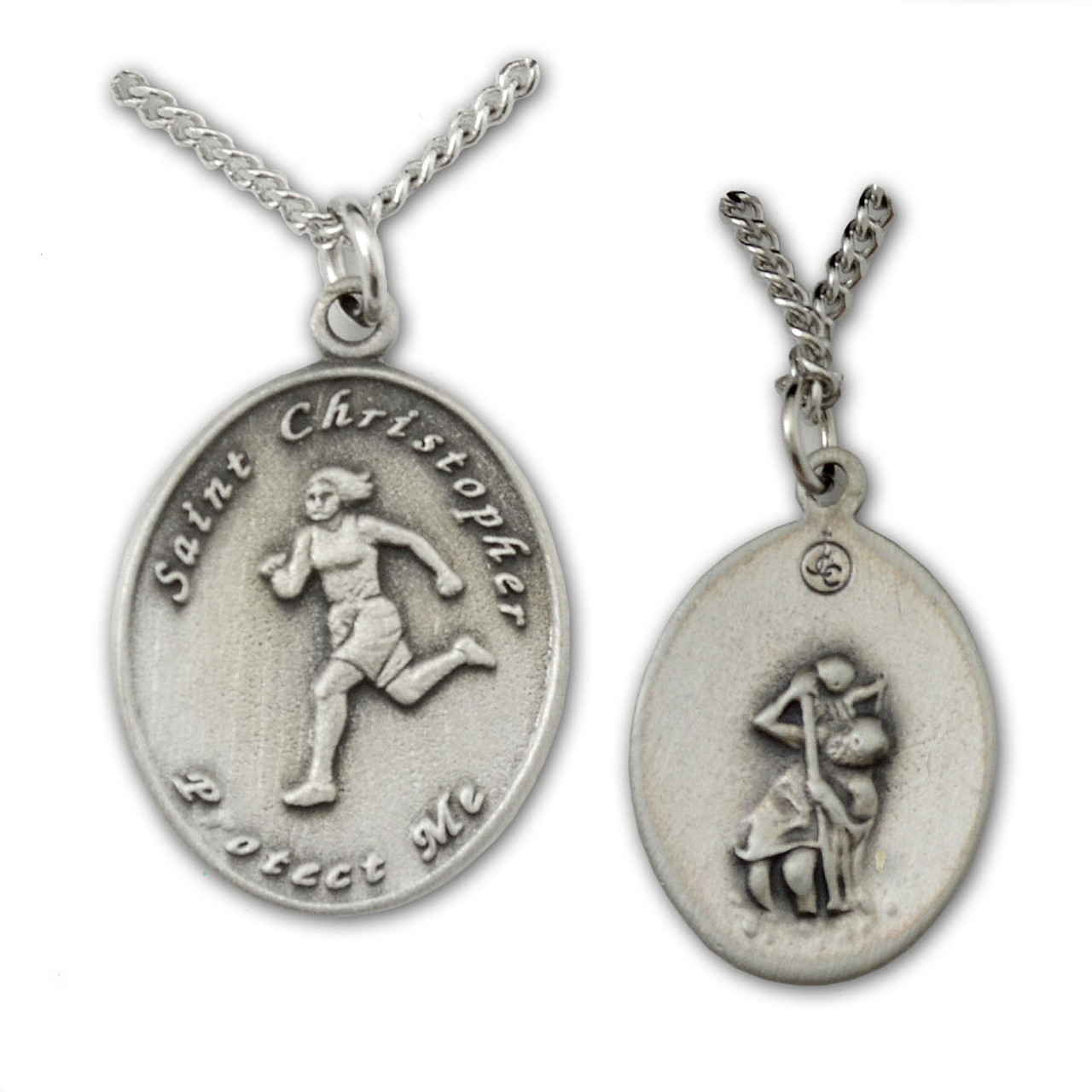 St Christopher Medal Track Ladies 18IN Chain