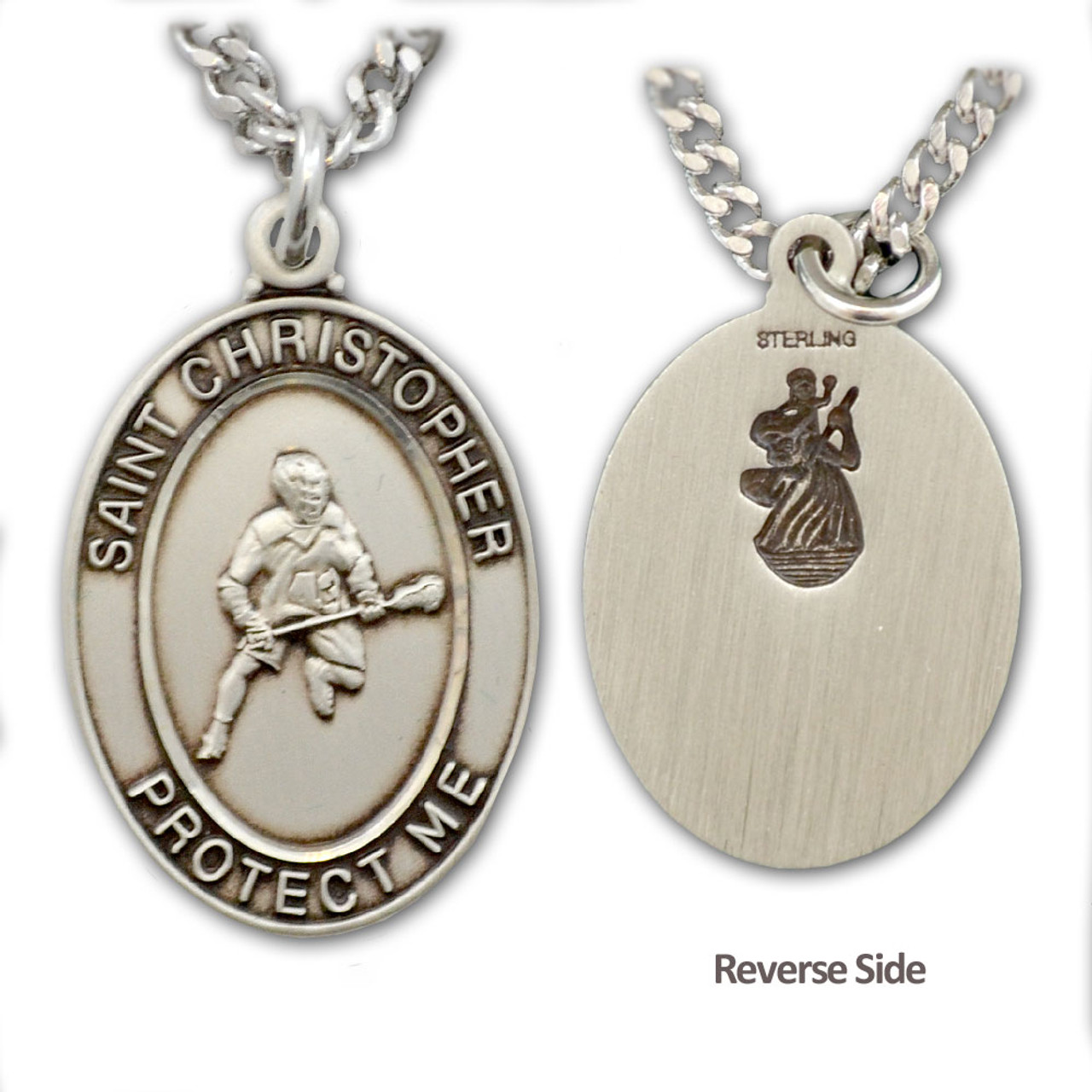 """Lacrosse St. Christopher Necklace Male w/24"""" Chain"""