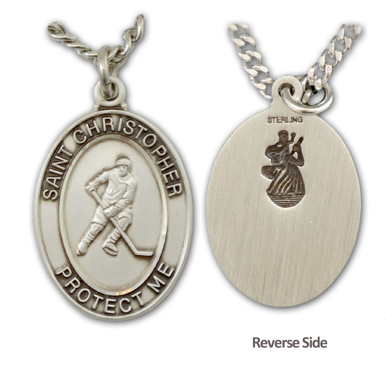 "Hockey St. Christopher Medal Necklace Male with 24"" Chain"